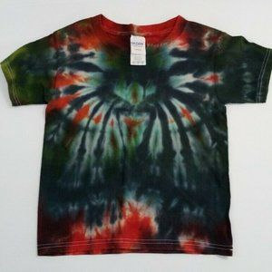 Hand Dyed Tie Dye Tee Shirt Kids 4T Blue Green Red